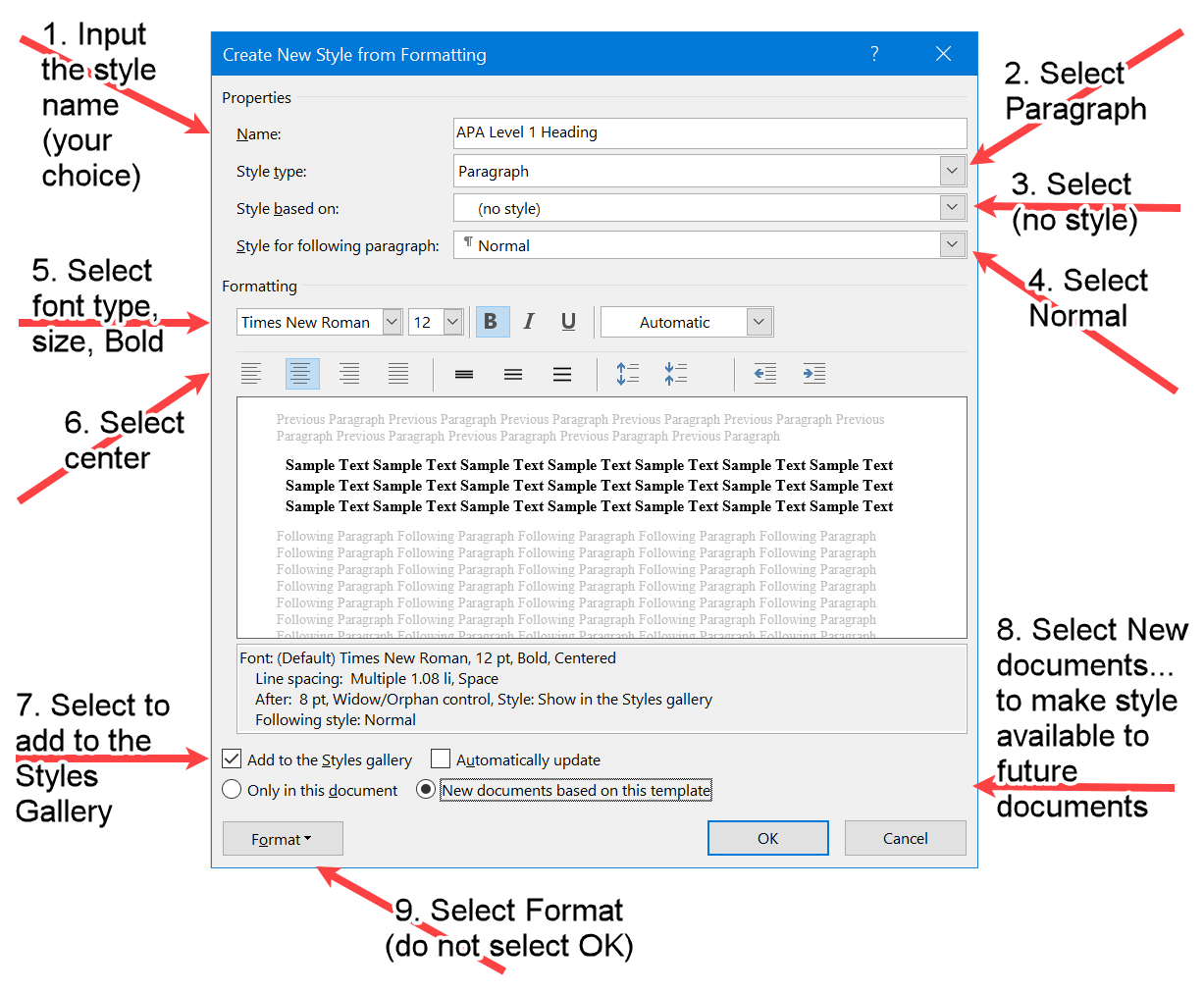 The Create style Window in Word with the Style and Font properties for the APA Level 1 Heading