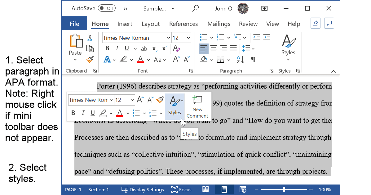 Select a paragraph already in APA format