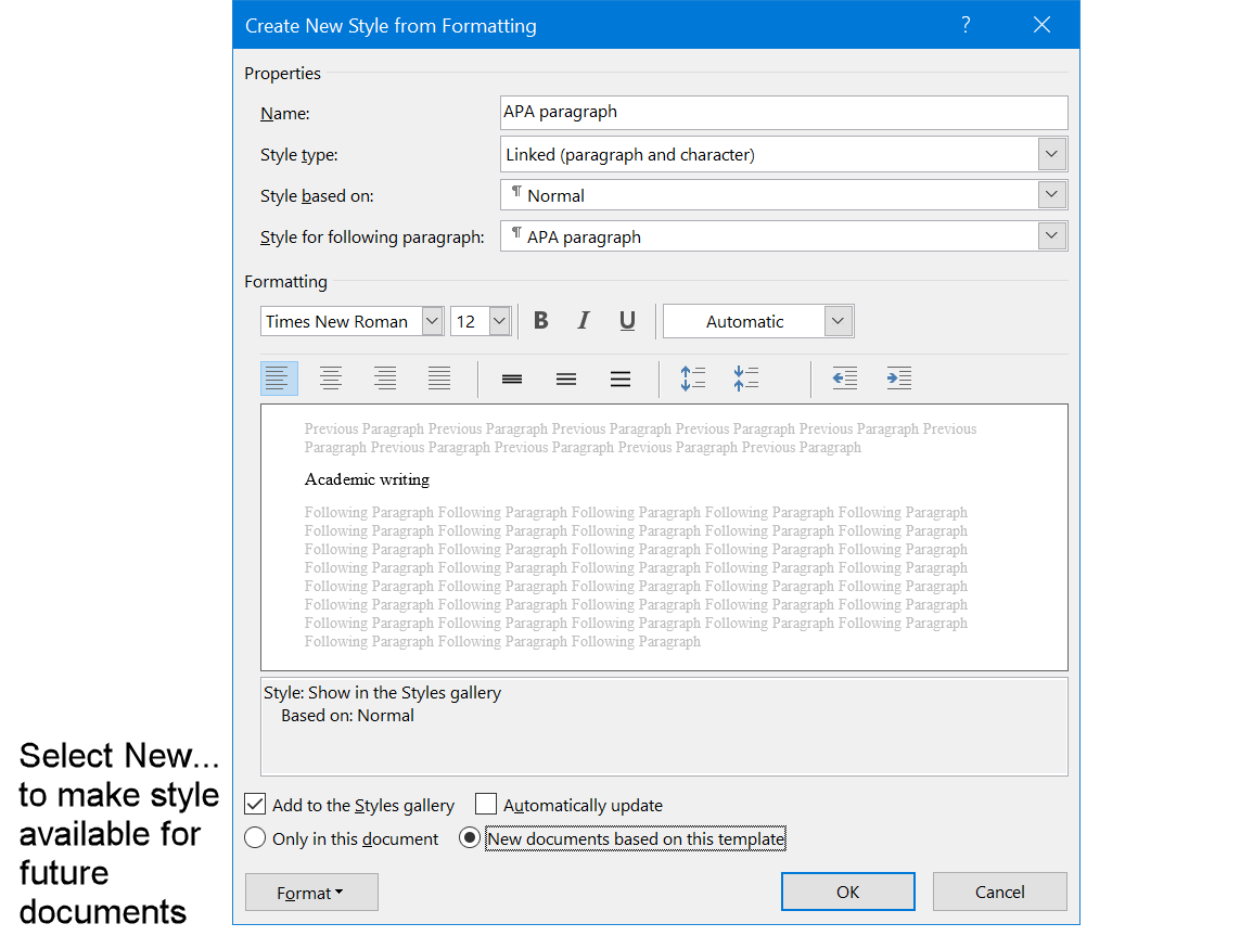 Select option to make the APA paragraph style available for new documents