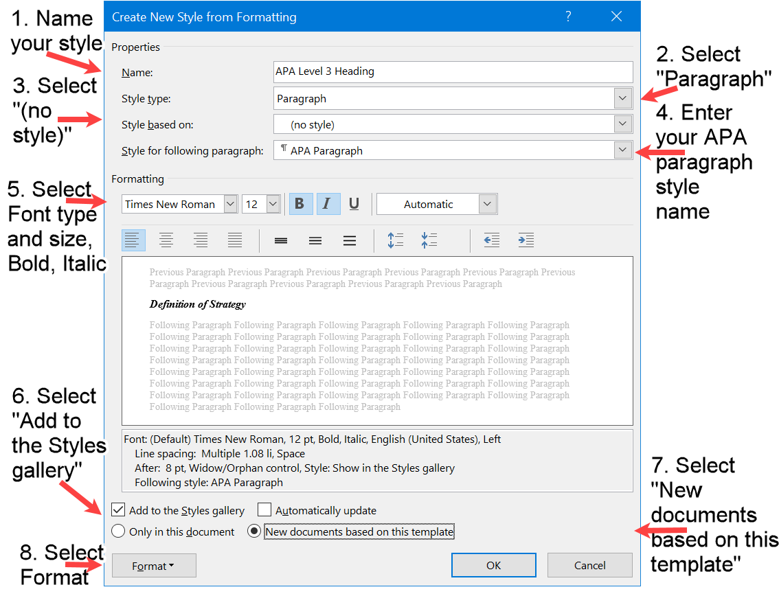 The Create style Window in Word with the Style and Font properties for the APA Level 3 Heading