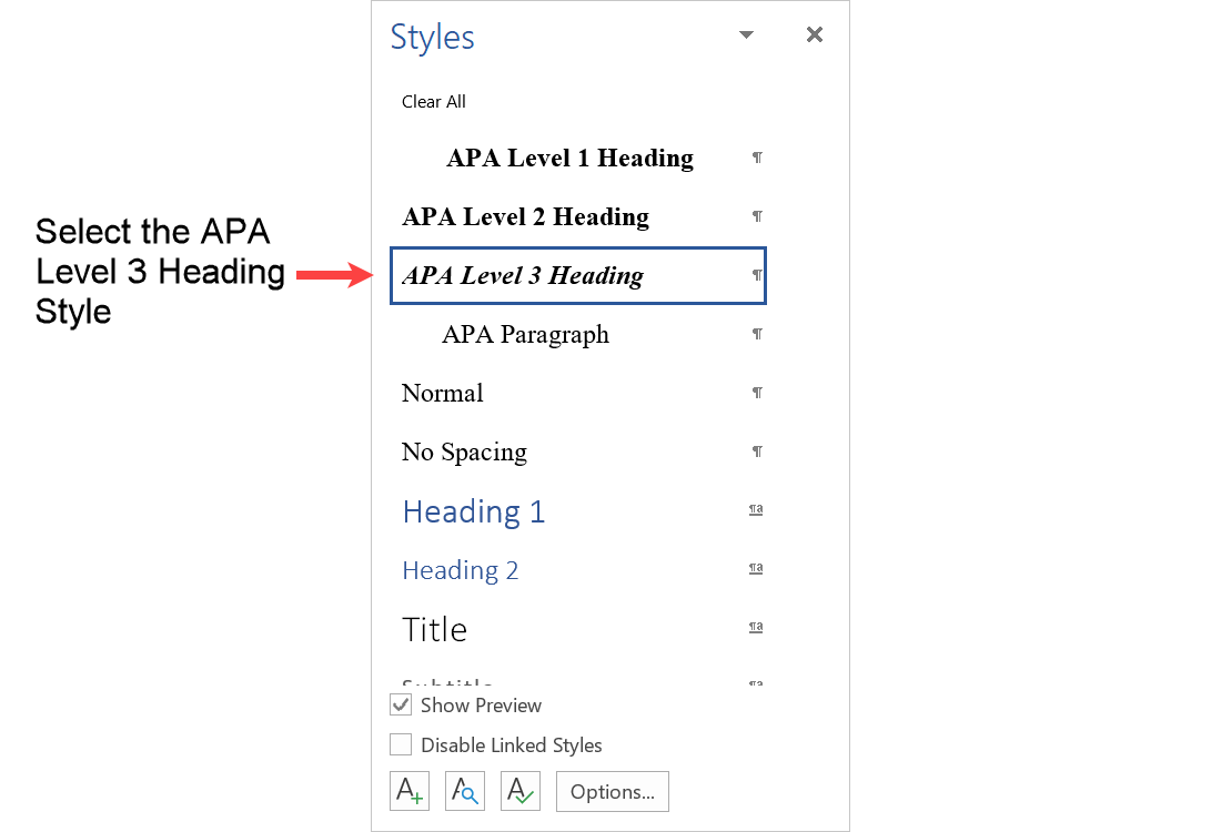 Select the APA Level 3 Heading format from the Styles menu