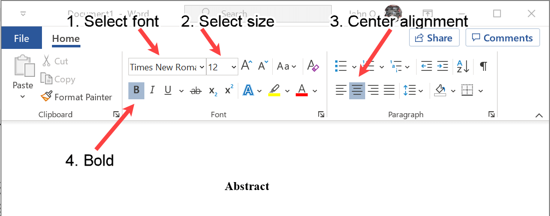Font and Alignment Settings for the Abstract Label in APA Format