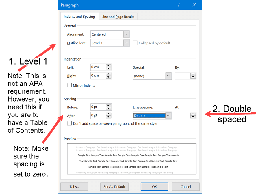 Line Spacing Settings for the Abstract Label in APA Format