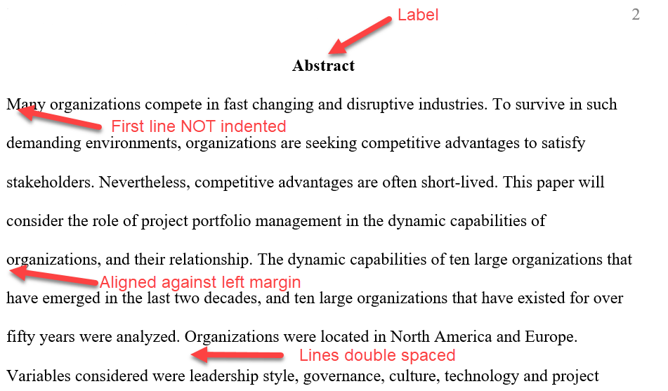 Example of an Abstract in APA Format