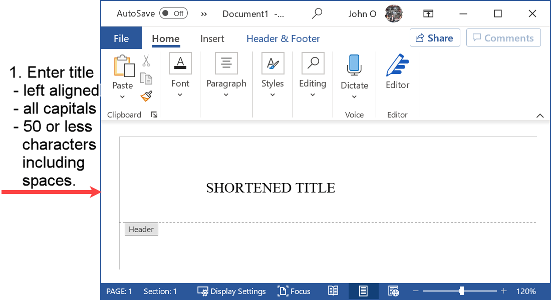Word header with the shortened title in the running head in APA format