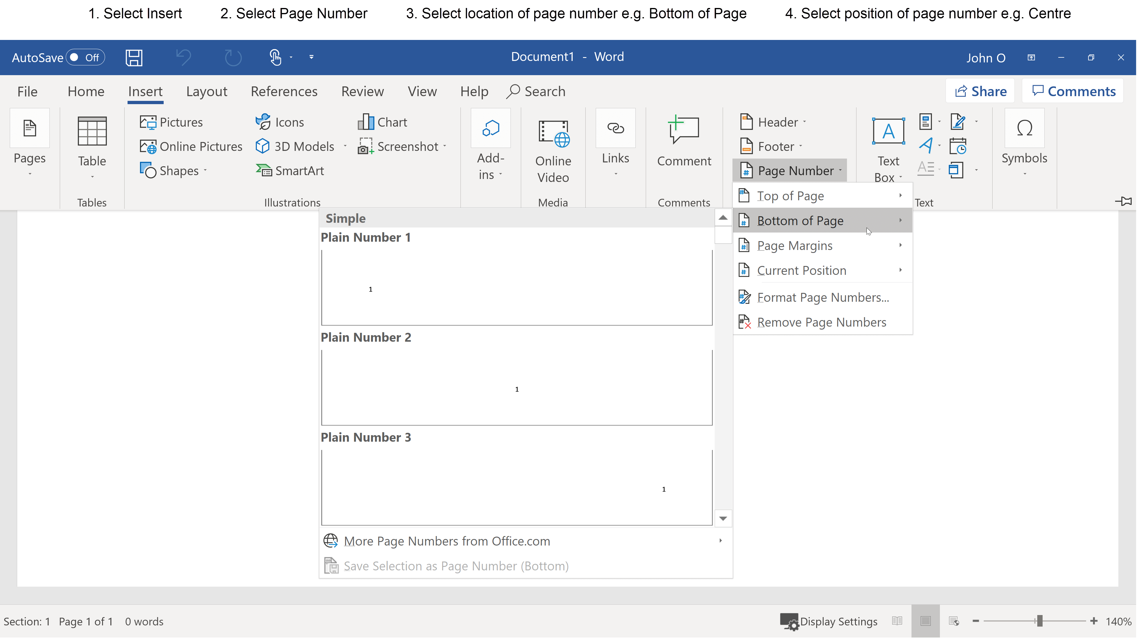 How to insert simple page numbers in Word