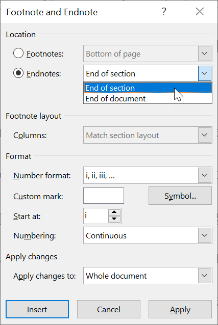 Prepare to convert footnotes to endnotes at the end of each section