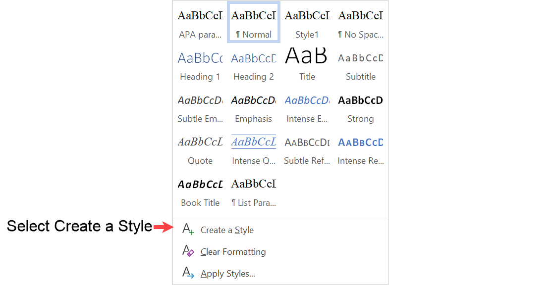 Select new style dialog box in Word to create quotation style