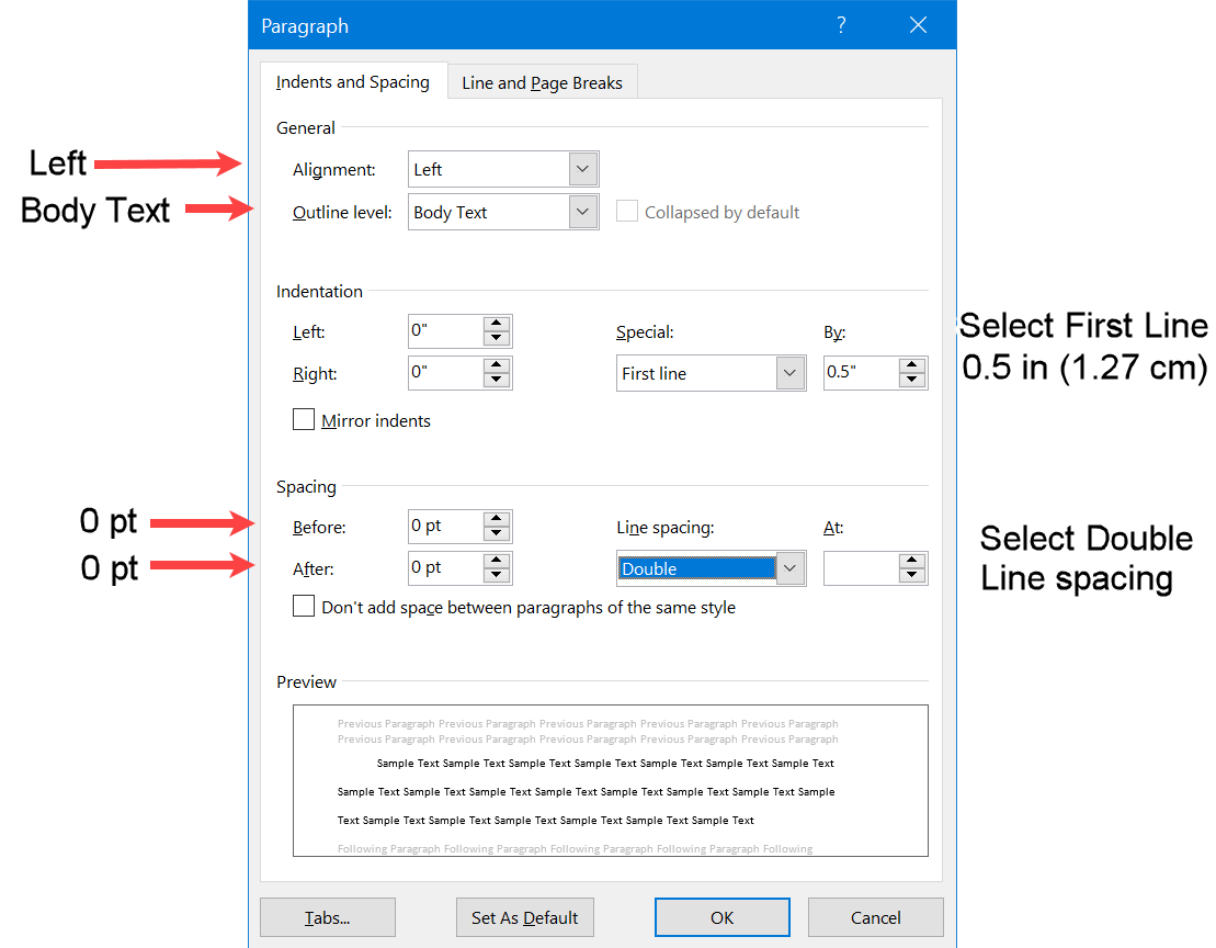Word screen for alignment and line indent and spacing for a paragraph in APA format