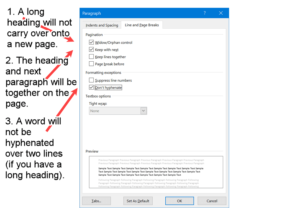 Word screenshot of page break and hyphenation properties required for APA Level 2 Headings.