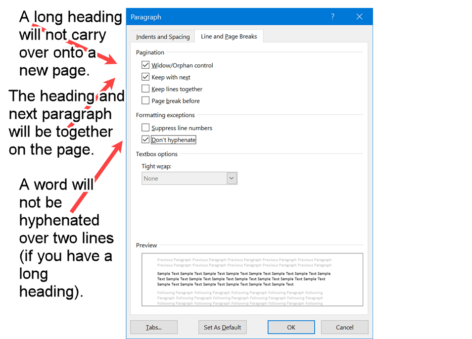 Word screenshot of page break and hyphenation properties required for APA Level 3 Headings.