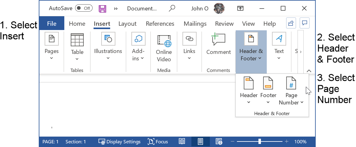 Step 1: Select the Insert tab of the Word ribbon to format the page number in APA style