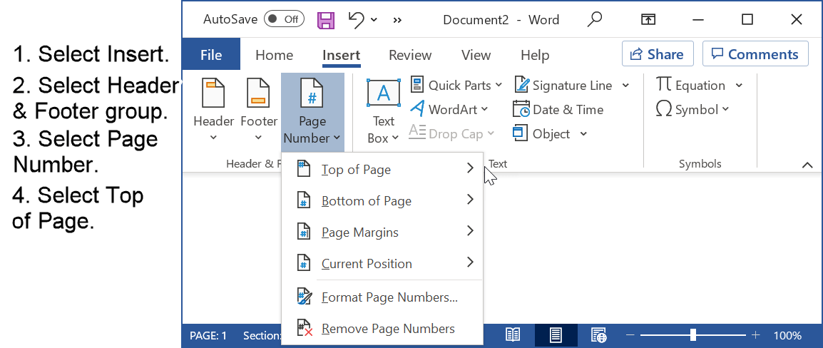 Insert page number in APA format using Microsoft Word