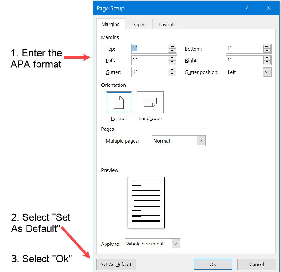 Set margins in APA format to default