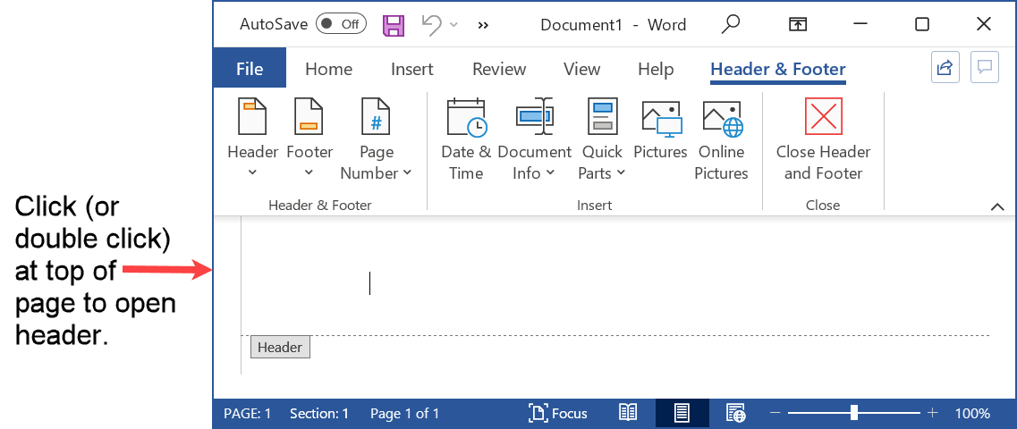 Select the header in Word for the running head placement