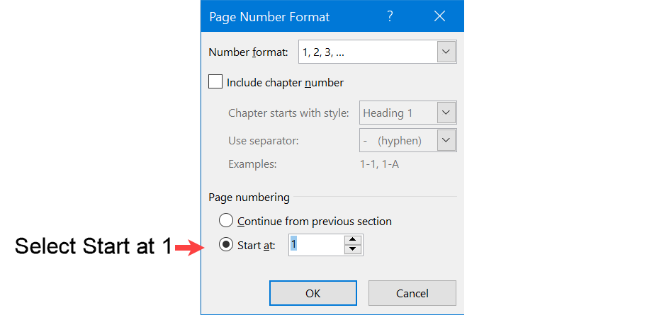 Format Section 2 header to start with page number 1