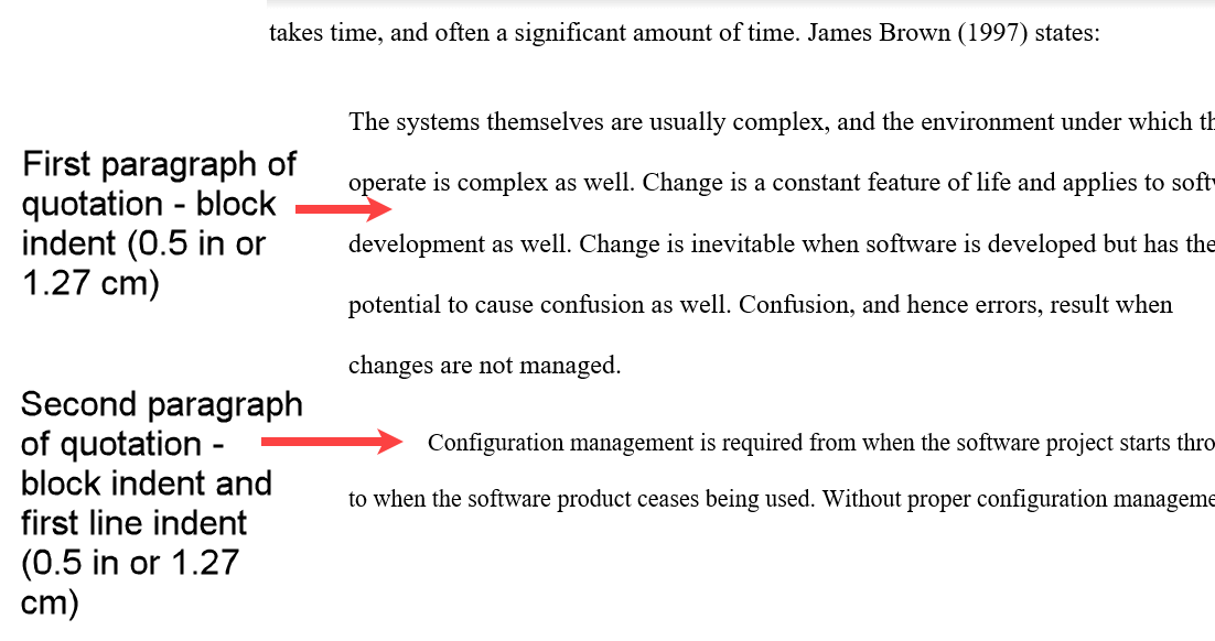 Comparison of the first two paragraphs in a quotation in APA format