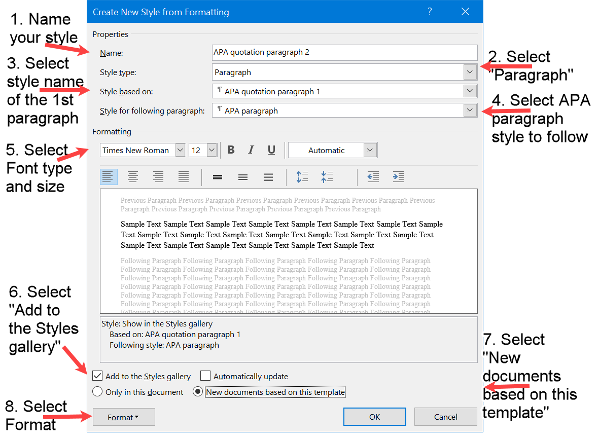 Create New APA Quotation Style in Word for second paragraph