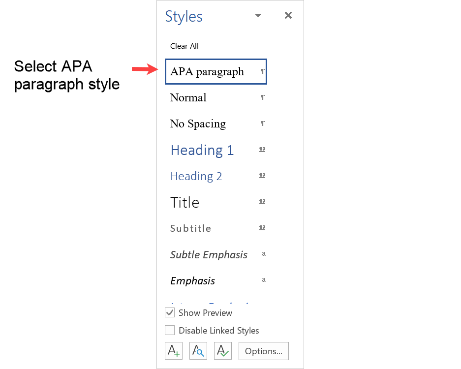 Select APA paragraph style from the Styles menu