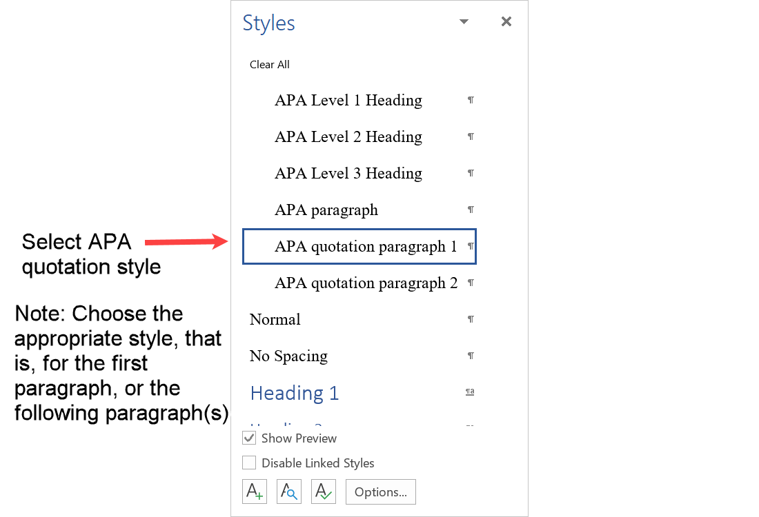 Select APA quotation style from the styles pane