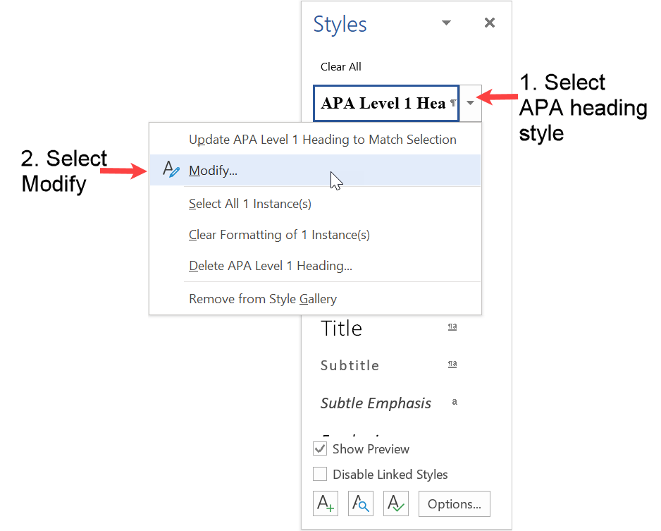 Select Modify to update APA heading style with APA paragraph format