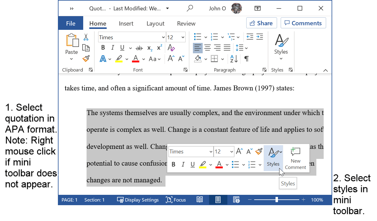 Select a quotation already in APA format