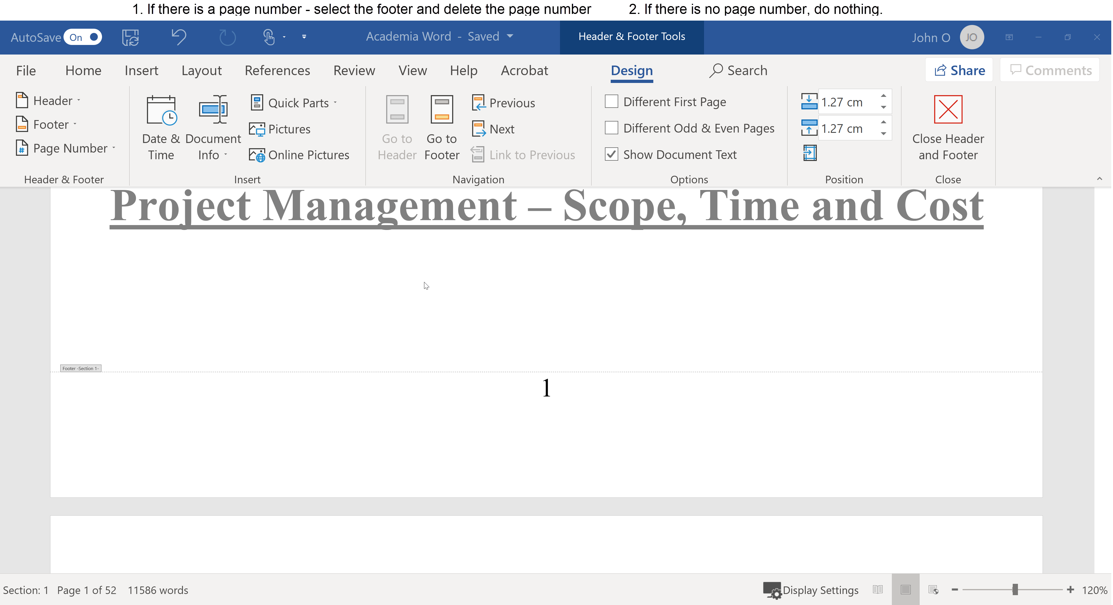 Ensure the Title Page has no page number. If there is one, select the footer and delete the page number. If there is no page number in the footer, then do nothing.