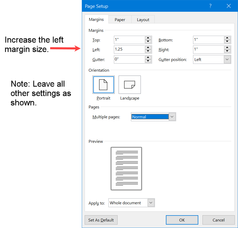 Increase left margin for single-sided bounded printing