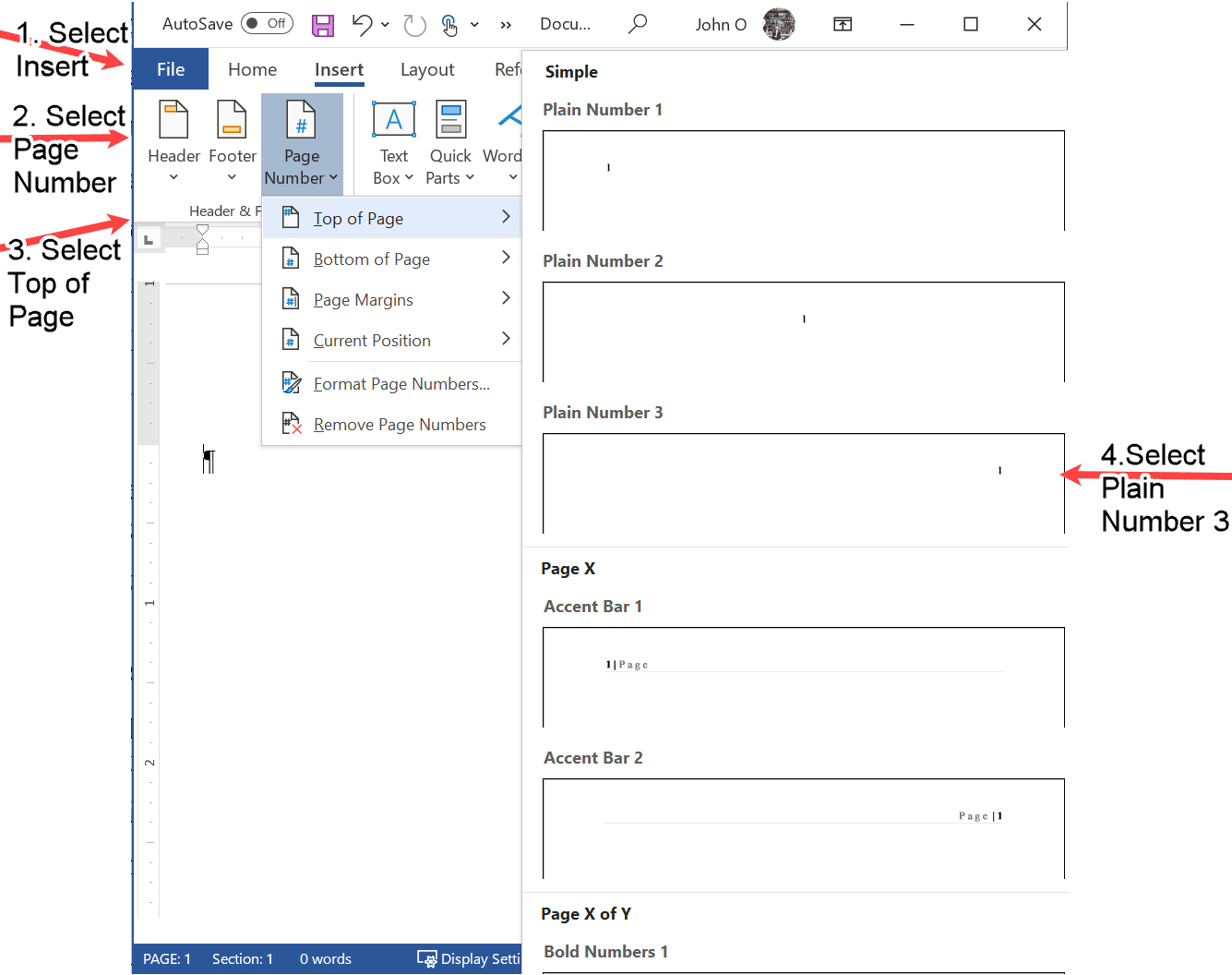 The Word screen shot to add the page number in APA format