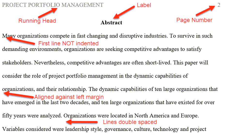 Example of a Professional Abstract in APA Format
