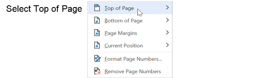Step 2: Place the page number in the header to format the page number in APA style